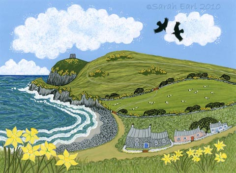 34 Dancing choughs and daffodils at Abereiddy