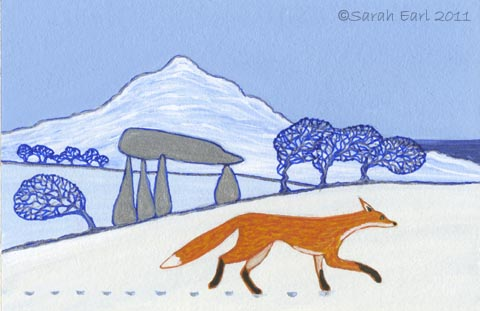 59 Fox prints in the snow at Pentre Ifan
